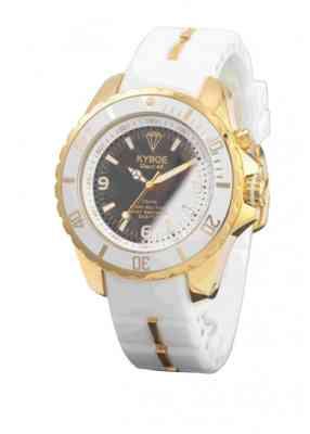 Белые наручные часы в золотом корпусе