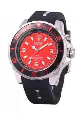 Часы красно-черного цвета и с хромированным корпусом