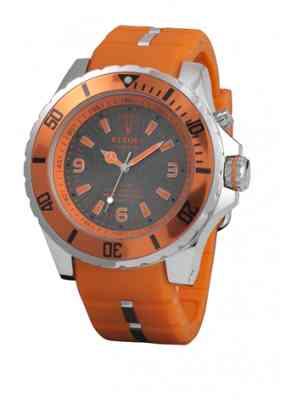 Оранжевые часы Kyboe с темным циферблатом и стальным корпусом