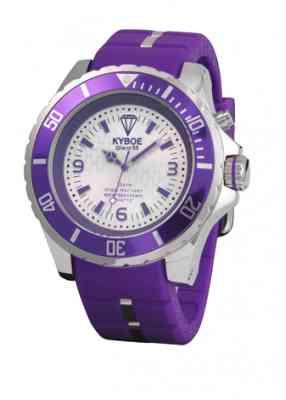 Фиолетовые часы с белым циферблатом и хромированным корпусом