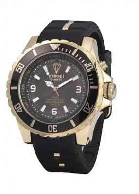 Часы черного цвета с розовым золотом на корпусе