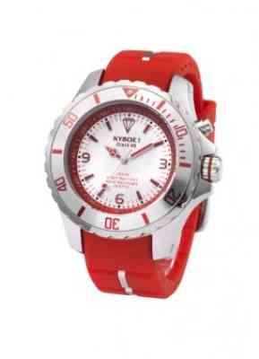 Часы красного цвета с белым циферблатом