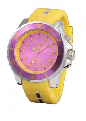 Желтые часы Kyboe с розовым циферблатом
